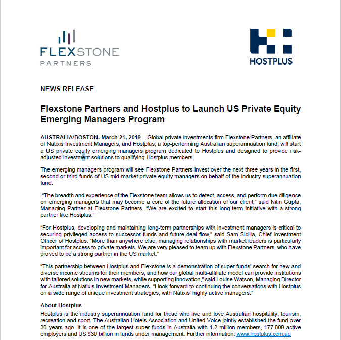 news-release-flexstone-partners-and-hostplus